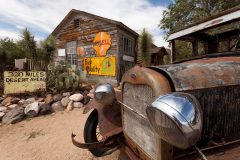 Bent headlight, Route 66, Hackberry, AZ