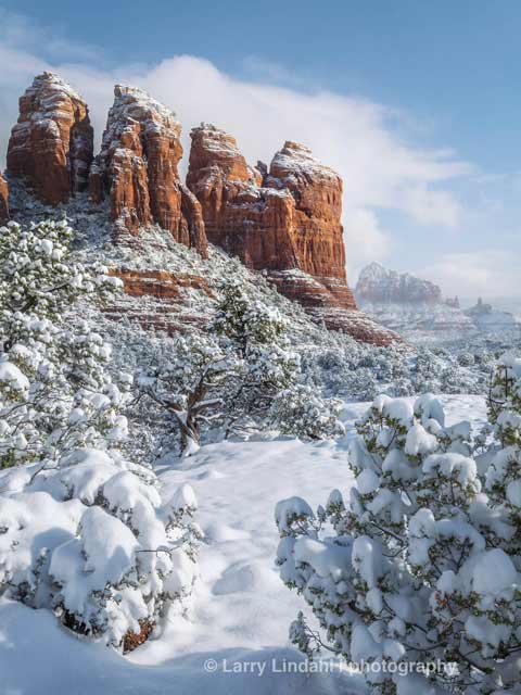 Sedona's Coffee Pot Rock in New Fallen Snow