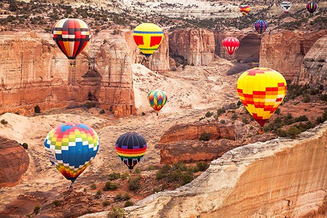 Colorful hot air balloons over New Mexico