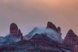 Mitten Ridge, winter evening fog, Coconino National Forest, Sedona, Arizona