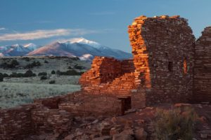 San Francisco Peaks with Lomaki Ruins in foreground
